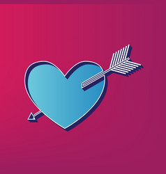Arrow heart sign blue 3d printed icon on vector