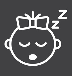 Baby girl sleep line icon child and infant vector