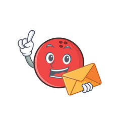 Bowling ball character cartoon with envelope vector