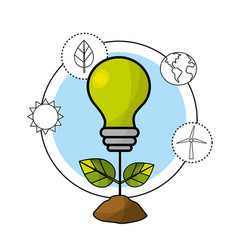 Bulb with leaves and environment care icons vector