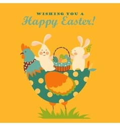 Bunnieschicken and easter eggs vector image