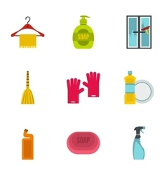Cleansing icons set flat style vector