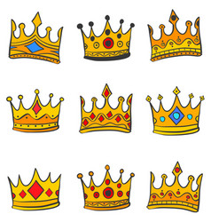 collection gold crown various doodles vector image vector image