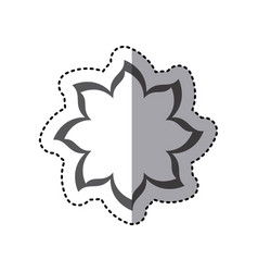 Contour flower with pointed petals icon vector