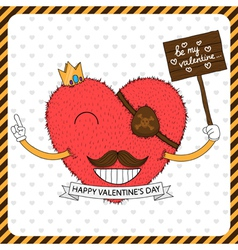 Cute fluffy heart with mustache vector image vector image