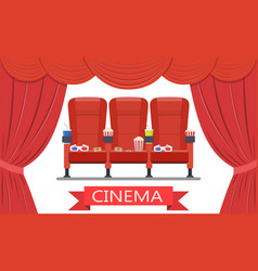 Drinks and popcorn glasses for movie vector