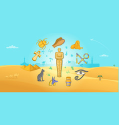 Egypt travel horizontal banner cartoon style vector