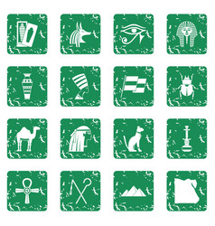 Egypt travel items icons set grunge vector
