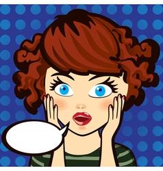 Emotion surprised brunette woman expression look vector