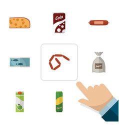 flat icon eating set of cheddar slice bratwurst vector image vector image