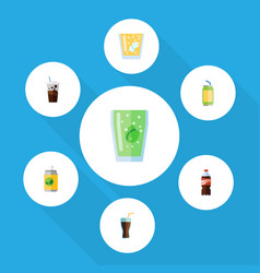 Flat icon soda set of bottle fizzy drink cup and vector