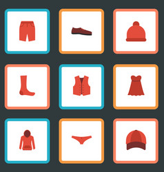 Flat icons waistcoat hat swimming trunk and vector