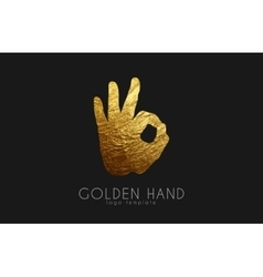 Golden hand logo hand logo Okay symbol vector image vector image