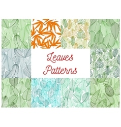 Green and yellow leaves seamless patterns set vector image vector image