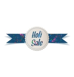 Holi sale white banner with splashes of paint vector