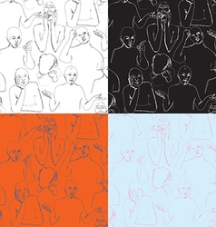 Human body Language in sketching background vector image