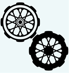 Old wheel motorcycle vector