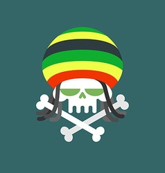 Rasta skull skull addict with dreadlocks and bones vector