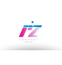 rz r z alphabet letter combination pink blue bold vector image