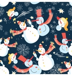 Seamless graphic pattern of Christmas snowman vector image vector image