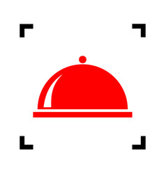 Server sign red icon inside vector