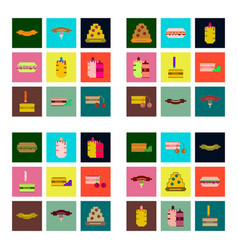 Set pixel icons of fast food vector