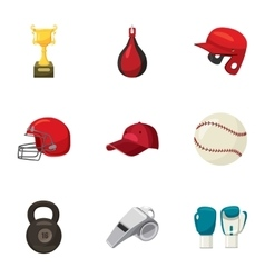 Sports training icons set cartoon style vector