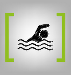 Swimming water sport sign black scribble vector