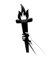 torch in human arm icon vector image