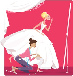 Bride fitting a dress vector