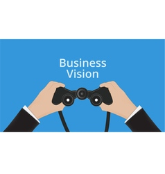Business man hand holds binoculars vector