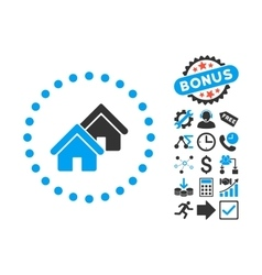 Realty flat icon with bonus vector