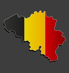 Map of belgium with flag vector
