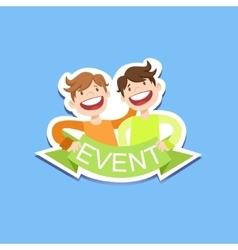 Event Template Label Cute Sticker With Smiling vector image