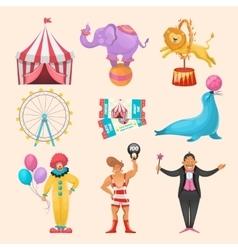 Circus Character Elements Set vector image