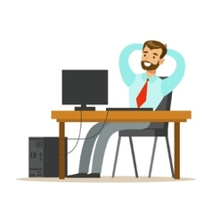 Man resting and stretching at his desk part of vector