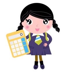 Beautiful school girl with yellow calculator vector image