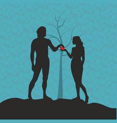 adam and eve in the garden of eden vector image