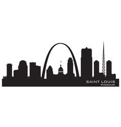 Saint louis missouri skyline detailed silhouette vector