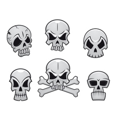 Cartoon skulls set vector