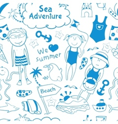 Beach seamless pattern in doodle style vector
