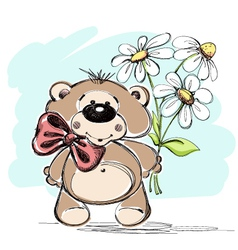 Nice little bear and a bouquet of flowers vector