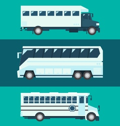Flat design of passenger bus set vector