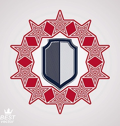 Royal stylized graphic symbol shield with 3d stars vector