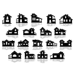 Black silhouettes of houses and cottages vector