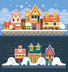 Winter houses vector