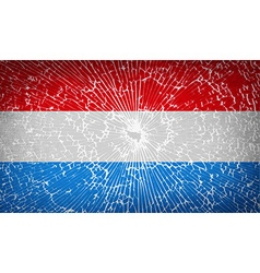 Flags luxembourg with broken glass texture vector