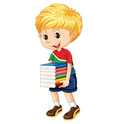 Little boy carrying stack of books vector