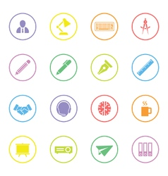 Colorful flat icon set 8 with circle frame vector