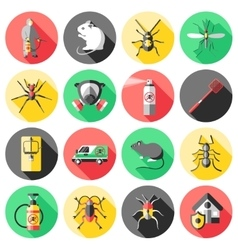 Pest control flat icons set vector
